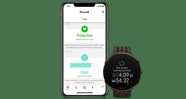 Polar Vantage M2 und Polar Flow App mit Cardioload- Status sowie Schlafstatus