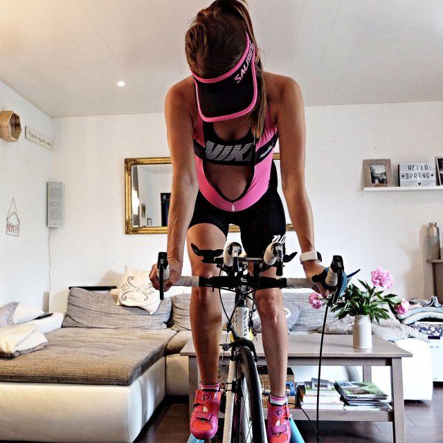 Pregnant Jana rides indoor trainer