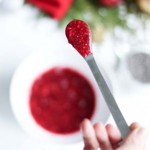 Raspberry Chia Jam on spoon